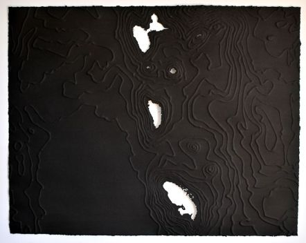 """-61.339, 15.447 (Dominica), 22"""" x 28"""", India ink on embossed paper"""