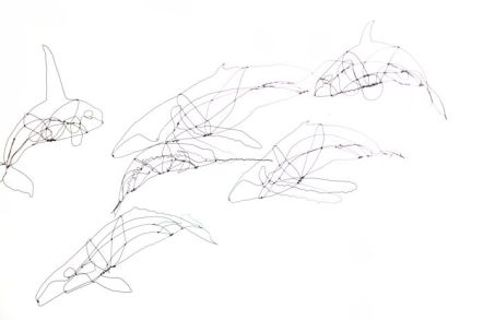 Wire whales (3D drawing)