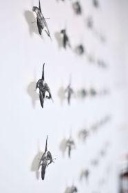 Southern Reisdent Killer Whales 3.0 (detail), ink, paper, metal pins