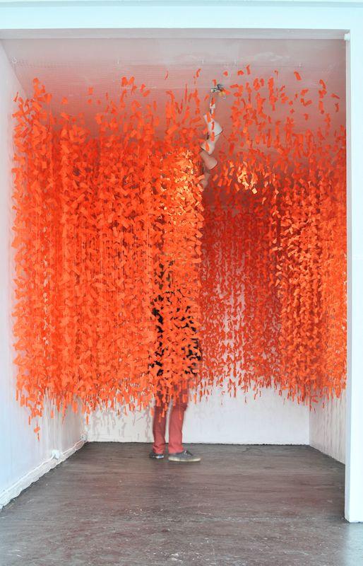 Swarm, paper, glue, metal, acrylic thread