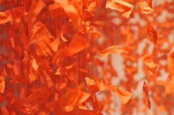 Swarm (paper, glue, metal, acrylic thread)