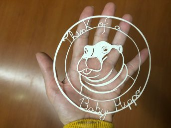 Happiness Hippo papercut by Leticiaà Legat