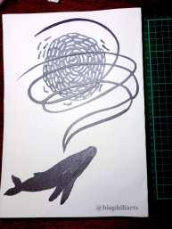 Single bubble-netting papercut by Leticiaà Legat