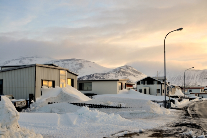 View of the mountains from Skagastrond, Iceland